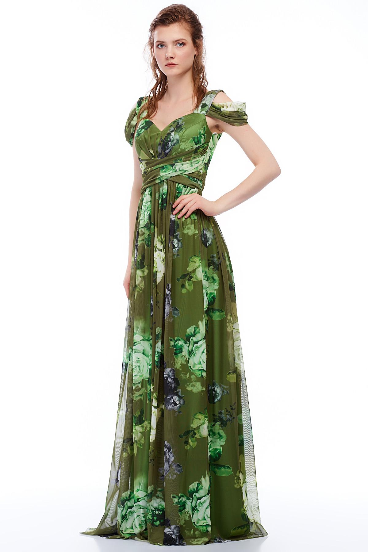 469b33c48730c MAXXE Kadın Yeşil Desenli Tül Abiye Elbise 4414FD - Glami.com.tr