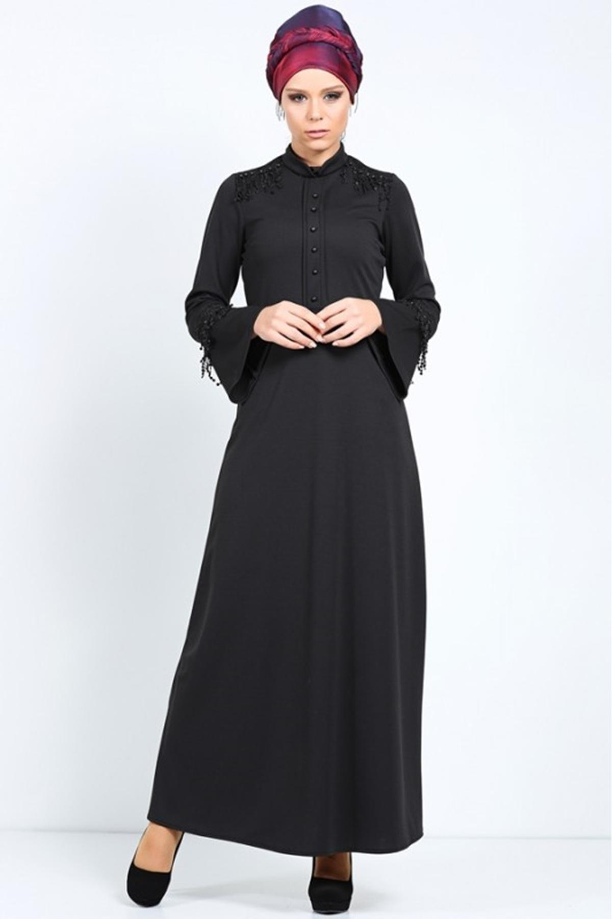 ddf48f5e67349 Patırtı Marka Tesettür Manşet İnci İşlemeli Tesettür Elbise Siyah 3055