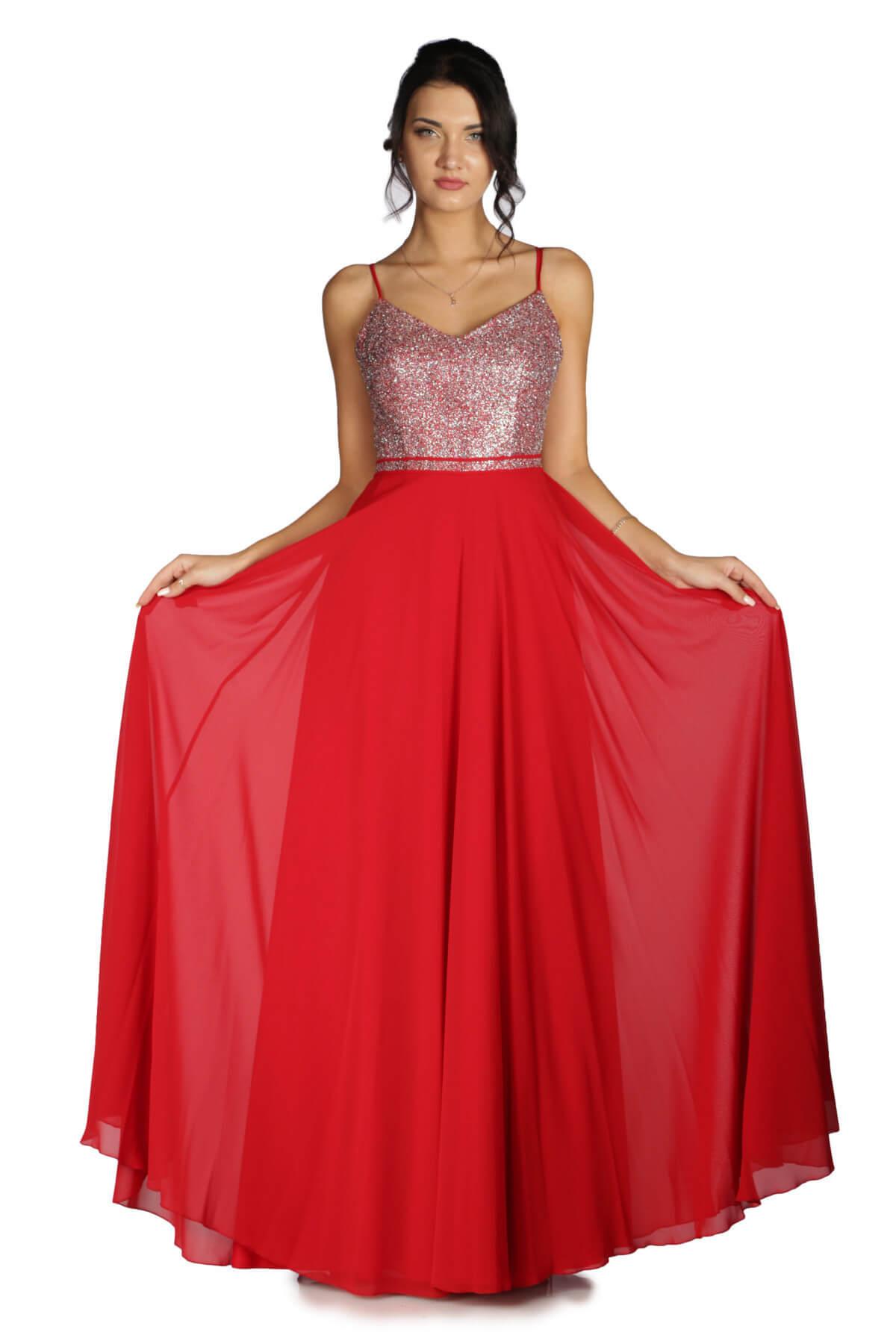 530d5d8d587d2 Pierre Cardin Kadın Kırmızı Üstü Simli Altı Şifon Uzun Abiye Elbise PC55163