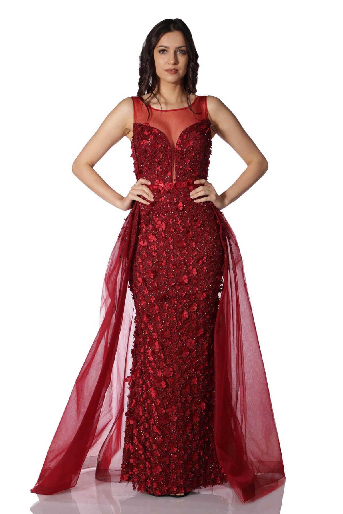 295c87e6f4aae Pierre Cardin Kadın Kırmızı Çiçekli Pelerinli Uzun Abiye Elbise PC55026