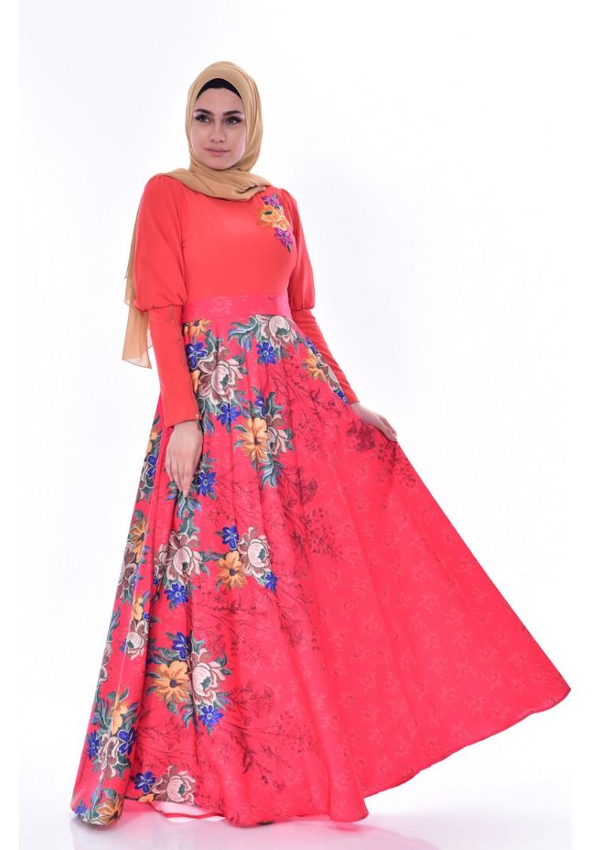 30f8429f8f1a0 Sefamerve Nakışlı Elbise 2597-02 Nar Çiçeği - 42 - Glami.com.tr