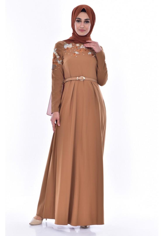 70a00ea39616c Sefamerve Nakışlı Kemerli Elbise 3289-02 Koyu Hardal - 38 - Glami.com.tr