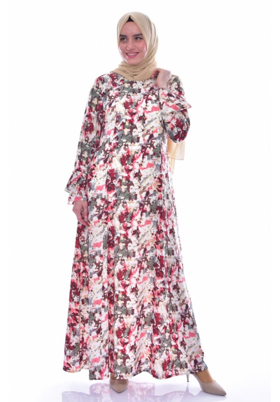 24b17ba299c3d Sefamerve Büyük Beden Desenli Elbise 1034-02 Bordo - 44 - Glami.com.tr
