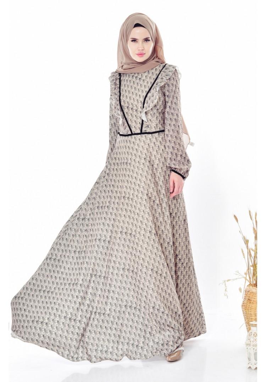 6a76a172a5cab Sefamerve Desenli Fırfırlı Elbise 28308-02 Zümrüt Yeşili - 36 ...