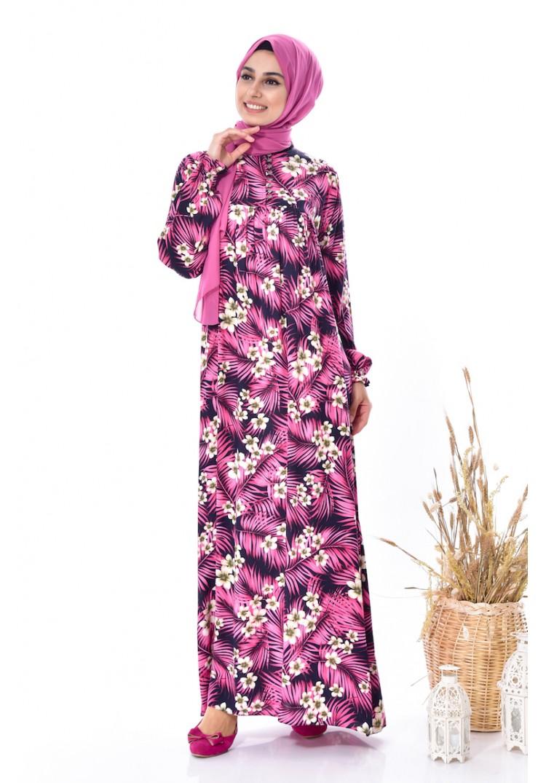 ad0799479ab00 Sefamerve Çiçek Desenli Elbise 4005A-02 Mürdüm - 38 - Glami.com.tr
