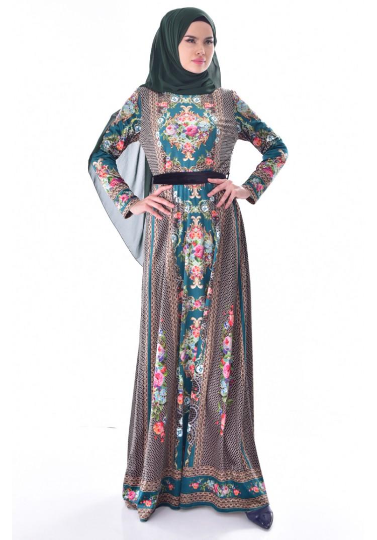 804edbb173216 Sefamerve Desenli Kuşaklı Kadife Elbise 24404-03 Zümrüt Yeşili - 38 ...