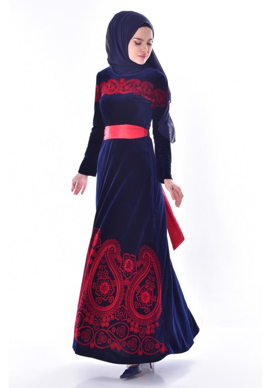 24bdf156ae46c Sefamerve Desenli Kuşaklı Kadife Elbise 7708-05 Lacivert - 38 ...