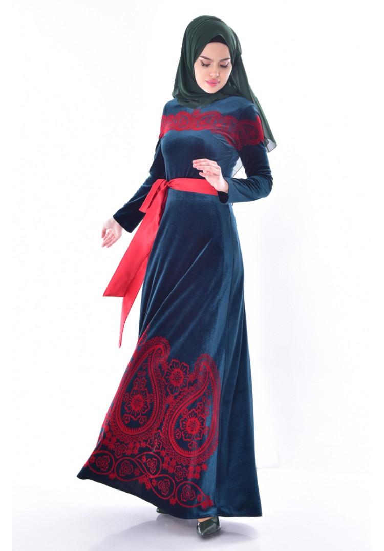 6c717d04180c5 Sefamerve Desenli Kuşaklı Kadife Elbise 7708-01 Zümrüt Yeşili - 38 ...