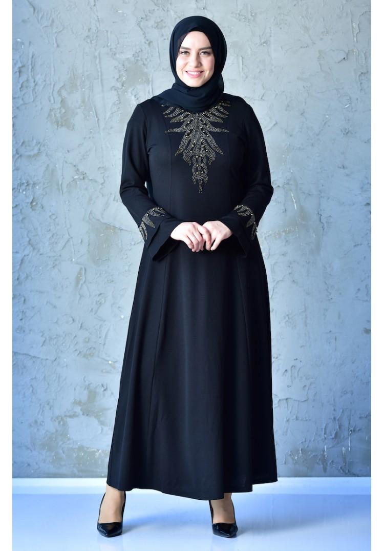d78385ef5894c Sefamerve Büyük Beden Taş Baskılı Elbise 1033-06 Siyah - 44 - Glami ...