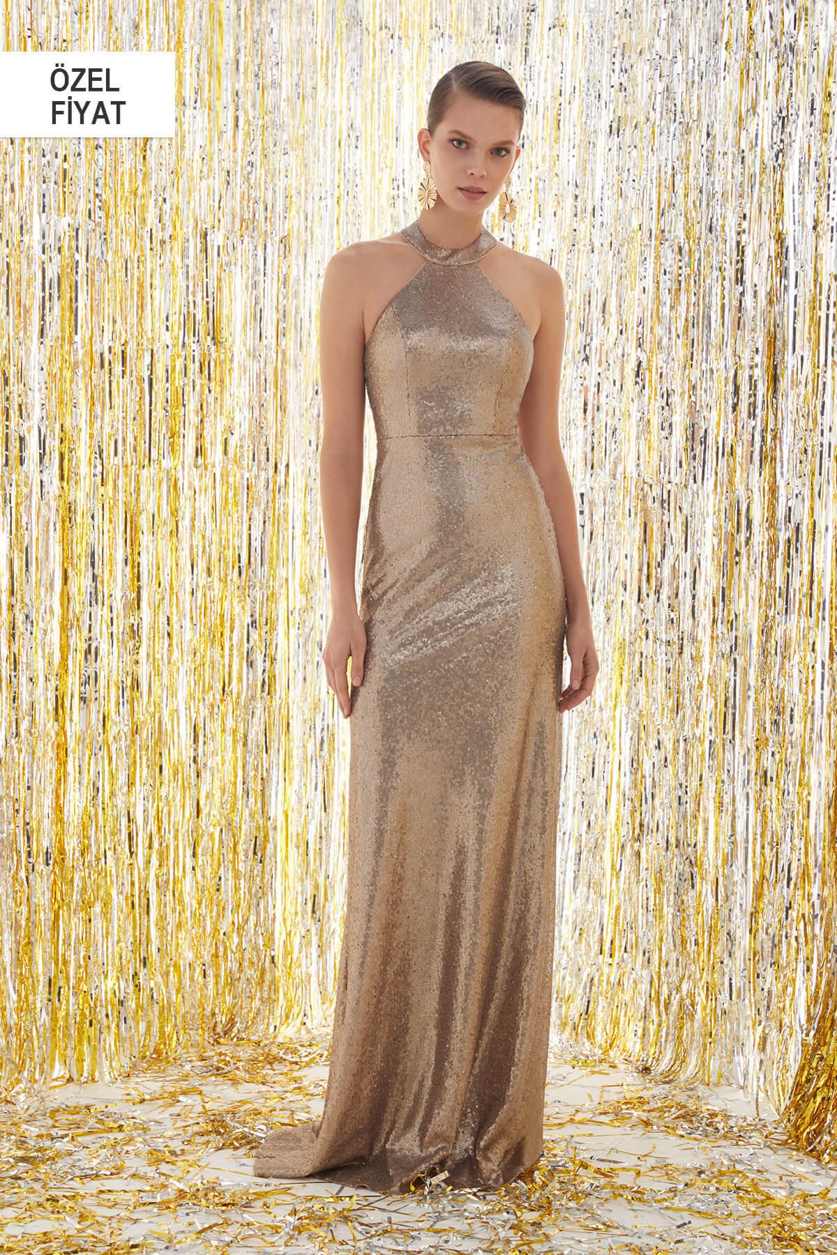 8e6e9f0a0be4e Oleg Cassini Kadın Altın Rengi Halter Yaka Abiye Elbise 4XLVC3772V1 ...
