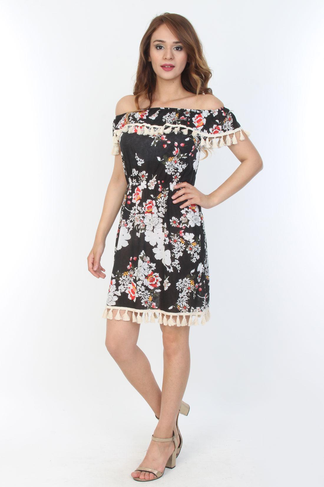 b21963a003532 Moda Royal Kısa Baskılı Desenli Elbise Dantel Detaylı - Glami.com.tr