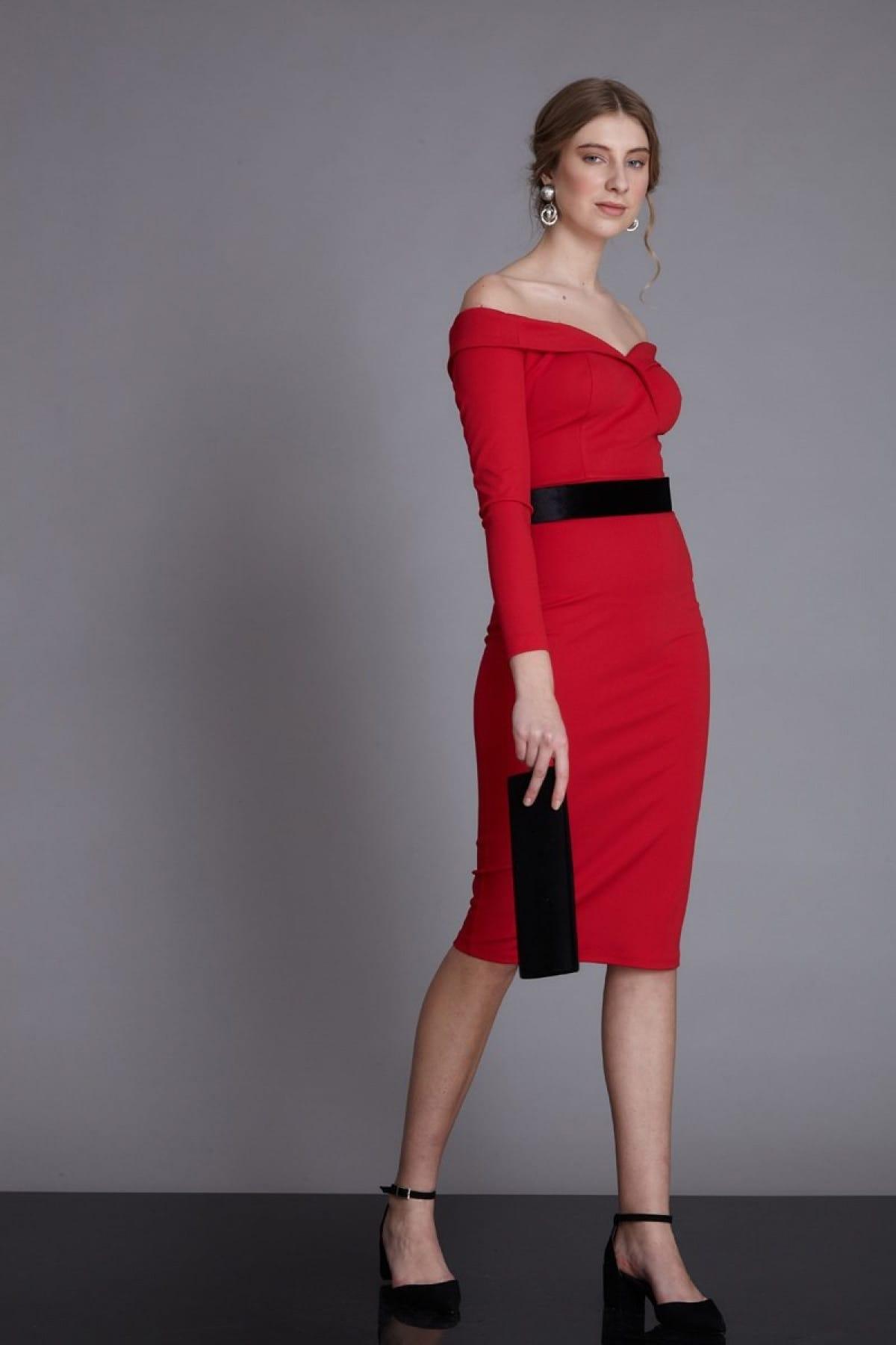 750e2e869a78d Keikei Kadın Kırmızı Dokuma Orta Boy Uzun Kol Abiye Elbise 974276 ...