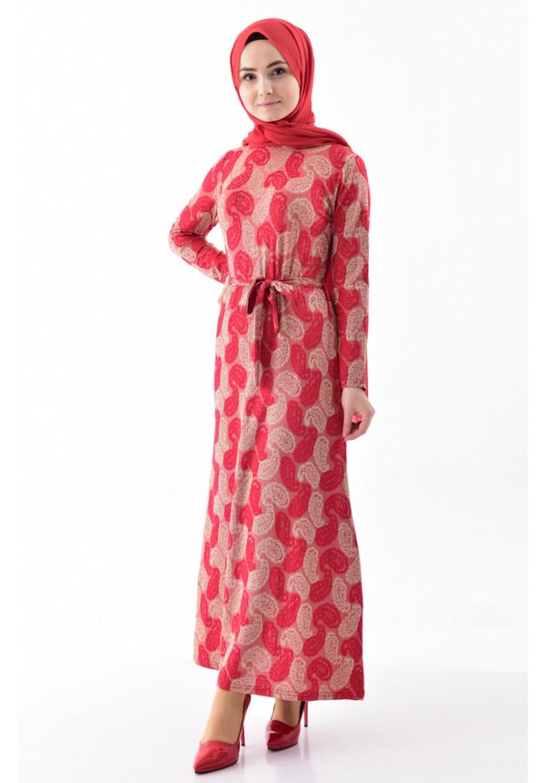 a0097f6b6c512 Sefamerve Desenli Kuşaklı Elbise 9033-02 Kırmızı - 38 - Glami.com.tr