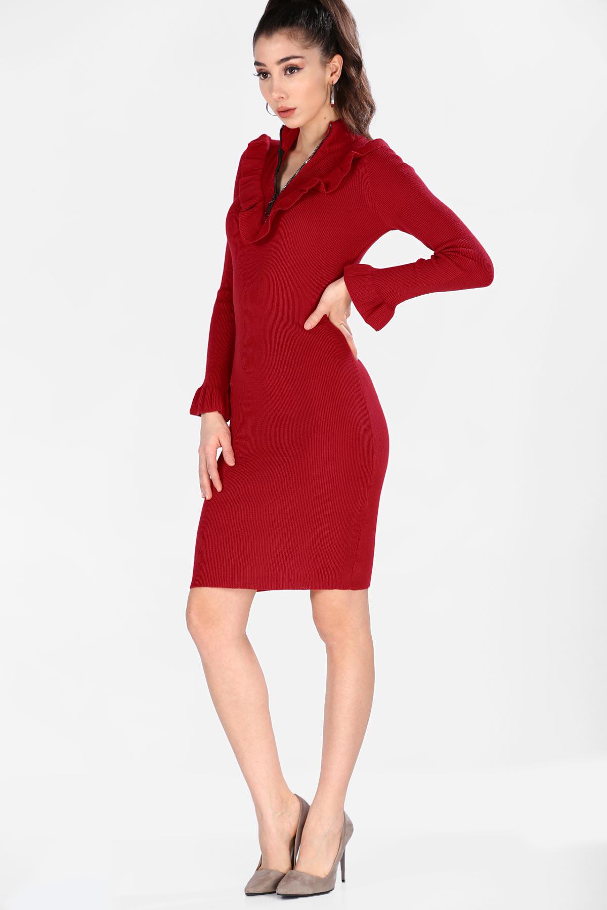 849ab1ea91174 Patırtı Kırmızı Kadın Triko Elbise - Glami.com.tr