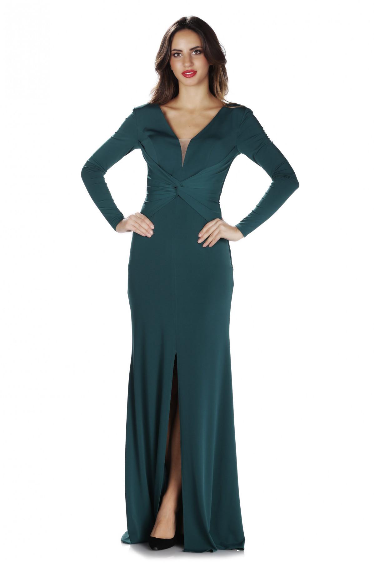93a8a4296cc7b Pierre Cardin Kadın Yeşil İthal Krep Uzun Kollu Abiye Elbise PC55280 ...