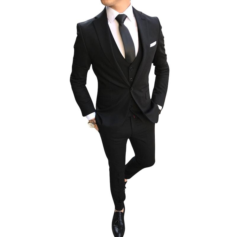 051d3f508aa40 terzi_ademaltun İtalyan stil erkek ceket yelek pantolon Siyah takım elbise  T2494