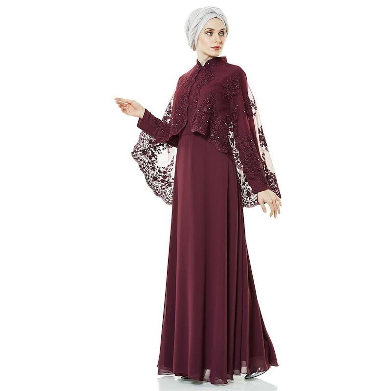 a2f562e1aeced Fashion Night Güpürlü Abiye Elbise-Mürdüm 2183-51 - Glami.com.tr