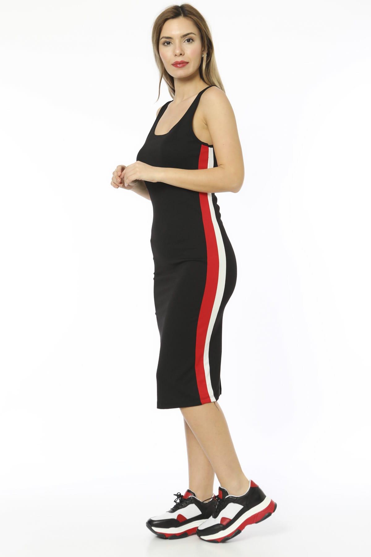 3d0851f105ab1 Bianco Lucci Kadın Siyah Şeritli Askılı Ve Yırtmaçlı Midi Boy Kalem Elbise  2459619