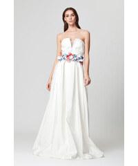 790b257c435dd Abiye Sarayı Kadın Beyaz Belinde Çiçek Detaylı Uzun Abiye Elbise 16046