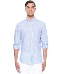 1df4d759afe20 Polo Ralph Lauren Erkek Mavi Beyaz Çizgili Logo Nakışlı Keten Gömlek XL EU