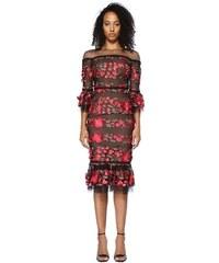 27ef7a44ce7a2 Marchesa Notte Kadın Siyah Pembe Çiçek Nakışlı Midi Tül Kokteyl Elbise  Kırmızı 2 US