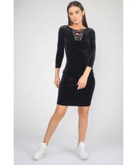 2b25f760f4c92 By Saygı Kadın Siyah Truvaka Kol Yakası Kuşgözlü Kadife Abiye Elbise  S-19K0290018