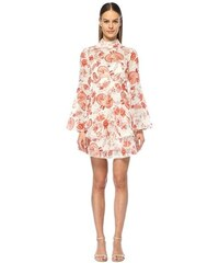 02376d9107e7f Thurley Kadın Chintz Kırmızı Beyaz Çiçekli Volanlı Mini Elbise 6 US