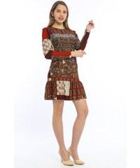 6ab761b98b5d7 Bianco Lucci Kadın Kırmızı Eteği Volanlı Desenli Örme Krep Elbise 2292902