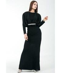 b81f1456fd92b By Saygı Kadın Omuz Bel İnci Ve Taşlı Şifon Detaylı Astarlı Uzun Abiye Elbise  Siyah S