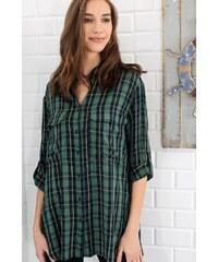 9fd85c5562c19 Trend: Alaçatı Stili Kadın Yeşil Boyfrıend Çift Cep Kareli Gömlek ALC-5967