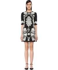 1e28d922c181b Dolce&Gabbana Kadın Siyah Beyaz Dantel Nakışlı Yarım Kol Mini Elbise 40 IT