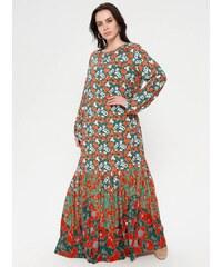 e98b569081511 Patırtı İnci Düğmeli Çiçekli Elbise Br-5509 Su Yeşili - Glami.com.tr