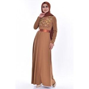 9c5a36106dd54 Sefamerve Nakışlı Kuşaklı Elbise 3319-01 Koyu Hardal - 38 - Glami.com.tr