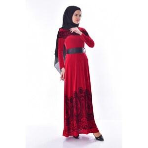 05e795d058e39 Sefamerve Desenli Kuşaklı Kadife Elbise 7708-03 Kırmızı - 40 - Glami.com.tr