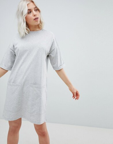a8a884b4567a3 ASOS DESIGN Boyfriend T-Shirt Dress With Pockets - Grey marl - Glami ...