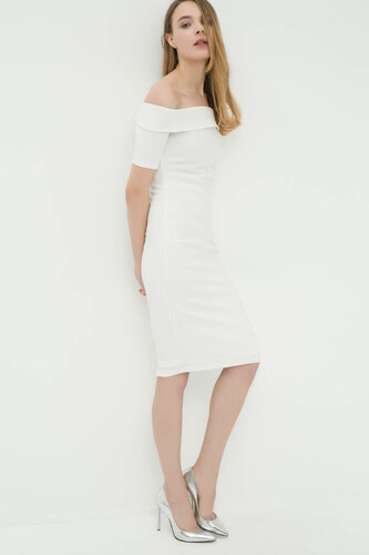 0c1f23c488229 Koton Kadın Beyaz Elbise 6YAK84472SK - Glami.com.tr