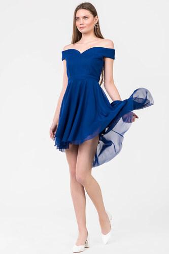911ee9d7ab6b3 İroni Kadın Saks Kayık Yaka Tül Mini Abiye Elbise 5120-SS - Glami.com.tr