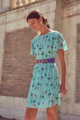 2f9021f730a98 TRENDYOLMİLLA Mint Bağlama Detaylı Çiçek Desenli Elbise TOFSS18FG0127
