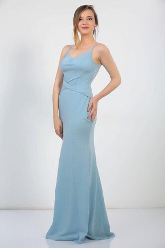 b870992a2c498 By Saygı Kadın Bebe Mavi İnce Askılı Çapraz Detaylı Simli Uzun Astarlı  Abiye Elbise S-