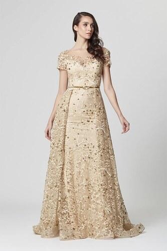 3fb4224ae7cc4 Abiye Sarayı Kadın Gold Çiçek İşlemeli Uzun Abiye Elbise Kuyruklu LB1050