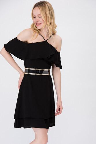 337514c34796d Y-London Kadın Siyah Askılı Ön Volanlı Abiye Elbise EX-52324 - Glami ...