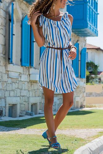 4919afa46d3ef Trend: Alaçatı Stili Kadın Mavi Çizgili Keten Dokuma Elbise ALC-018-103-
