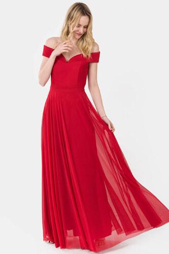 6f7036c6c21c4 İroni Kadın Kırmızı Kayık Yaka Uzun Abiye Elbise 5196-1240 - Glami ...