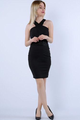 b4ee30770e6b5 Deppo Avantaj Kadın Siyah Çapraz Yaka Bel Güpürlü Kalem Elbise P-009768