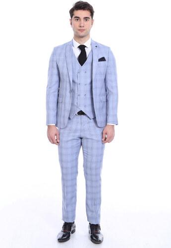 3e61523148a7b Wessi Erkek Tek Düğme Sivri Yaka Yelekli Ekose Bebe Mavi Takım Elbise -  Tk-62160