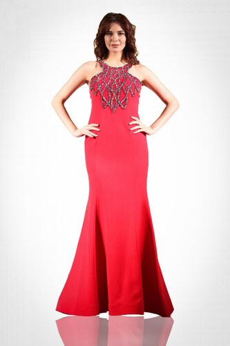 cc7b288a16ce7 Pierre Cardin Kadın Kırmızı Kasnak İşlemeli Balık Abiye Elbise PC54756