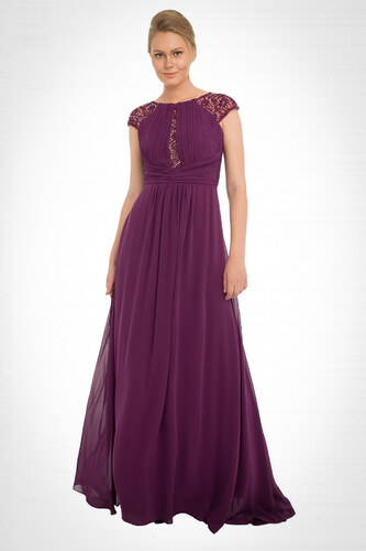15f3fa7548398 Pierre Cardin Kadın Mor Şifon Dantel İşlemeli Uzun Abiye Elbise PC54897