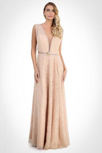 f5b3e05f9b09d Pierre Cardin Kadın Somon Dantel İşlemeli Dekolteli Uzun Abiye Elbise  PC54679