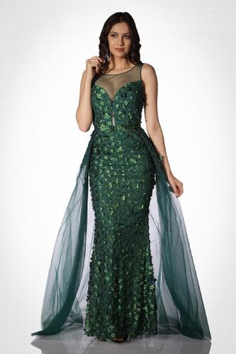 d7f3bbb478752 Pierre Cardin Kadın Yeşil Çiçekli Pelerinli Uzun Abiye Elbise PC55026
