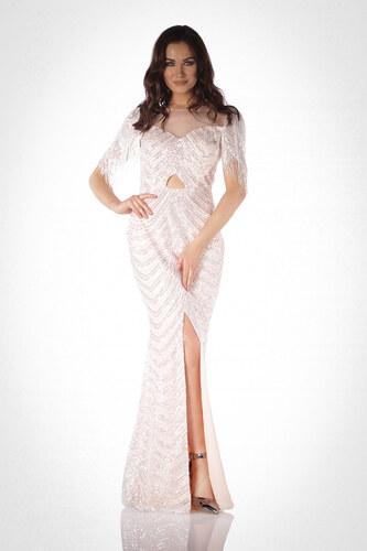 a47f540b9c006 Pierre Cardin Kadın Pudra Dekolteli Yırtmaçlı Balık Abiye Elbise PC55038